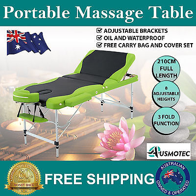 New Portable Massage Table 3 Fold Aluminium Adjustable Bed Therapy Green Black