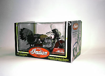 Diecast 1:10 1942 Indian 442 Motorcycle. Red/burgundy. New In Box.