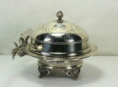 Antique Victorian Pairpoint Quadruple Plate Footed Domed Butter Dish With Knife