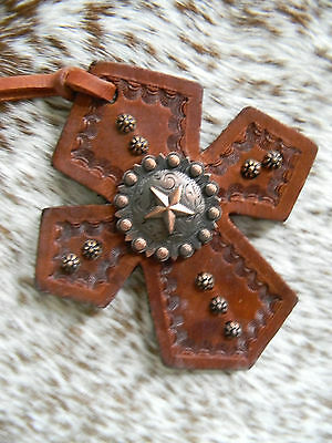 Tooled Leather Tie On Cross Western Saddle Copper Star Concho Horse Tack NEW