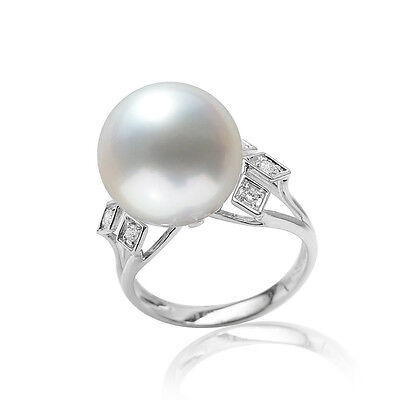 12mm Natural White South Sea Pearl Diamond Solitaire Accents Ring 18K White Gold