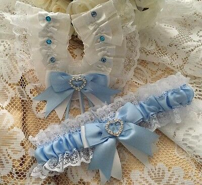 Wedding Garter And Horseshoe Set Blue And White Heart Diamantes Lace Satin New