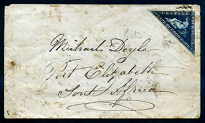 Cape of Good Hope. Cover 4p. 1853. SC2. Grid Cancel.  CAPE TOWN FE 27 1863. F
