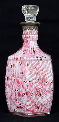 Extreme Rare Uncommon Pink Glass Genuine Antique Decanter With Stopper. i31-46