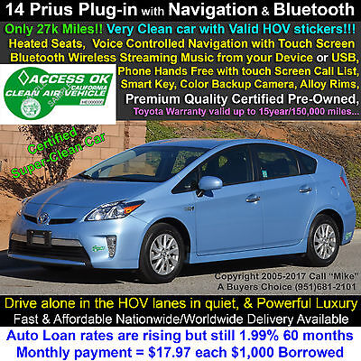 2014 Toyota Prius Plug-in Hybrid Premium Gasoline/Electric Dual-Fuel Navigation+Live Traffic, HeatedSeats, Rear Camera, Entune, Bluetooth, Warranty!!