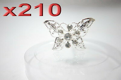 210pc Wholesale Butterfly Rhinestones Crystal Hair Pins Wedding Clearance Sale