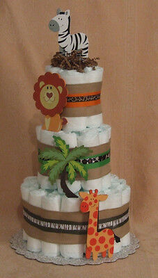 3 Tier Diaper Cake Animal Print  Zoo Safari Baby Shower Centerpiece TIMBUKTU