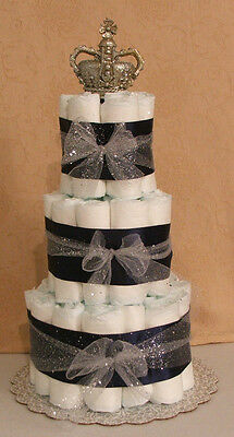 3 Tier Diaper Cake New Little Prince Charming Princess Baby Shower Centerpiece