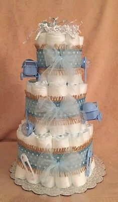 3 Tier Diaper Cake It's A Boy Tiny Bundle JOY Tickled  Baby Shower Centerpiece