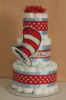 3 Tier Diaper Cake Dr. Seuss One Fish, Cat in The Hat Baby Shower Centerpiece