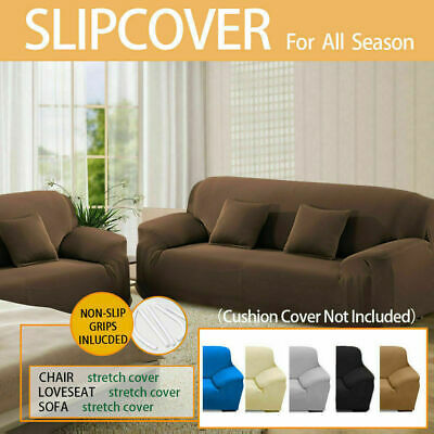 Removable Elastic 1/2/3 Seater Sofa Slipcover Lounge Couch Cover Pure Color