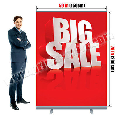 """59""""x79"""" Retractable Roll Up Banner Stand Trade Show Pop Up Display Free Printing"""