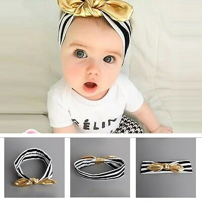 Toddler Newborn Kids Bowknot Head Wraps Baby Gold Knotted Bow Hair Band