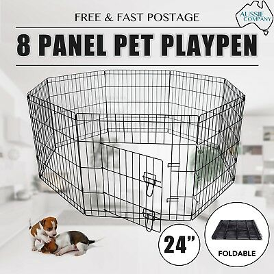"24"" 8 Panel Pet Playpen Dog Puppy Rabbit Portable Fold Exercise Cage Fence 60cm"