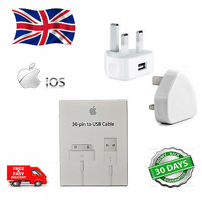 APPLE IPOD & iPad 2 & 1 iPhone 4 4S 3G 3GS CHARGER+USB LEAD CABLE