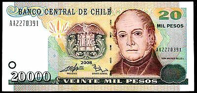 Chile. 20,000 Pesos, AA2270391, 2008, Good Very Fine.