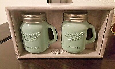 GLASS MASON JAR SALT-PEPPER-SET TABLETOPS UNLIMITED SOLID Aqua Blue ~ NEW