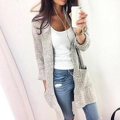 Fashion Women Knitted Cardigan Long Sleeve Loose Sweater Long Coat Outwear Tops