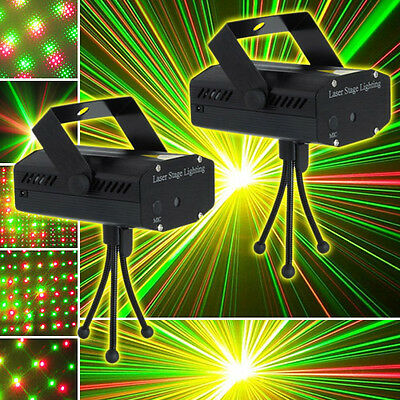 2X Mini Laser Light Party Club Disco DJ Stage Effect Lighting Projector + Remote