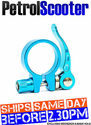 Bike Cycle Bicycle Seat Post Clamp CNC Blue Clasp 27 To 32mm Quick Release MTB