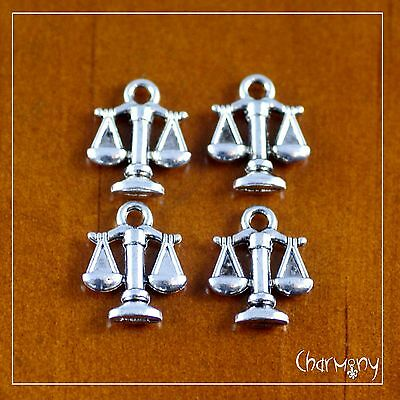 Tiny Pan Scales charms ~PACK of 4~ balance chef antique silver cooking gift