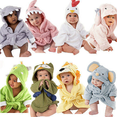 Baby Kids Toddler Animal Cartoon Hooded Bath Towel Bathrobe Wrap Bathing Robe