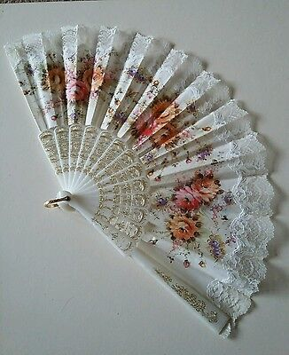Vintage Celluloid, Fabric and lace Large Hand Fan decorated with Flowers