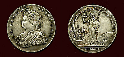 Great Britain - Medal 1713 - THE PEACE OF UTRECHT - Queen Anne - silvered