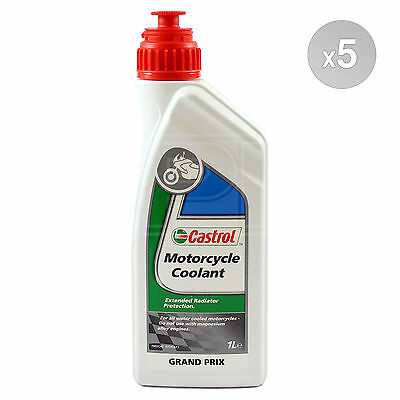 Castrol Motorcycle Coolant - Heat Transfer Fluid - 5 x 1 Litre 5L