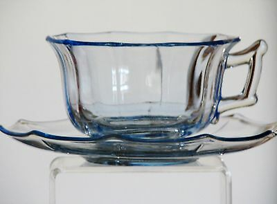 Cambridge Glass DECAGON Willow Blue Cup and Saucer Sets