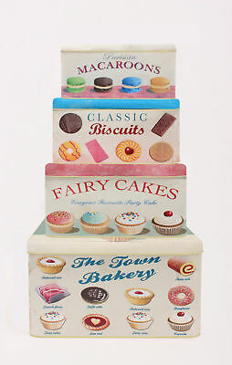 Martin Wiscombe 4 x Town Bakery Cake Storage Tins Box Containers Round Rectangle