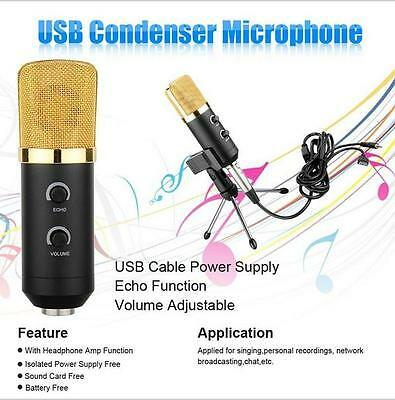 Pro USB Condenser Sound Recording Audio Processing Wired Microphone W/ Stand