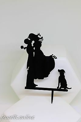 Black Bride groom and Dog silhouette Wedding Cake Topper Accessories
