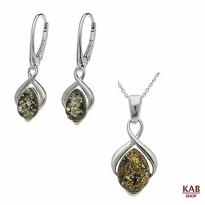 Green Baltic Amber Sterling Silver 925 Jewellery Pendant & Earrings, Kab-148