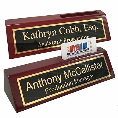Personalized Desk Name Plate with Business Card Holder