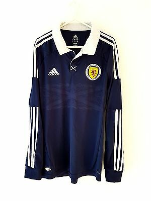 Scotland Home Shirt 2012. Large. Adidas. Blue Adults L Long Sleeves Football Top