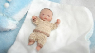 Ooak Partial Sculpt Sweet Baby Boy Ethan 2'' with Rocking Horse resale