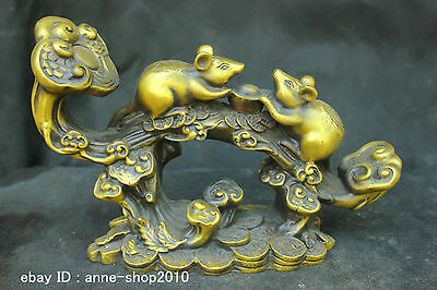Chinese China Folk Old Traditional Culture Brass Bronze statue Lucky Mouse Mice