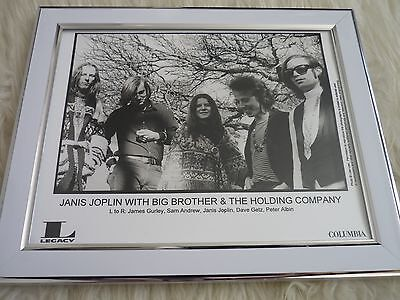 Original framed Press photos Columbia Janis joplin with big brother holding co