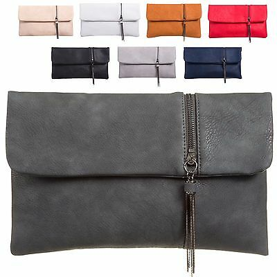 Ladies Faux Leather Front Zip Envelope Style Clutch Bag Evening Handbag KT998