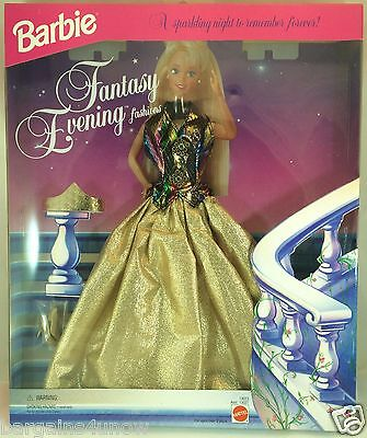 Barbie Fantasy Evening Fashions Sparkling Gold Gown Gold Crown Shoes NIB