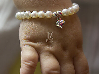 Freshwater Cultured Pearl 5 inch Baby Bracelet with Sterling Silver Heart Charm