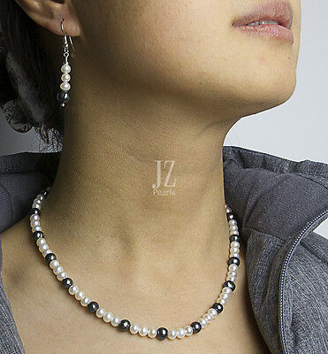 Freshwater Cultured Blue & White Pearl Necklace S/Silver Clasp &  Drop Earrings