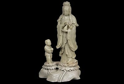 China 20. A Chinese Soapstone Figure of Guanyin & Shan Tsai Cinese Chinois Chino