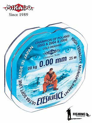 Mikado ® EYES BLUE ICE Winter Fishing Line 25 - 50 M/ 27 - 54 YDS FREE SHIPPING