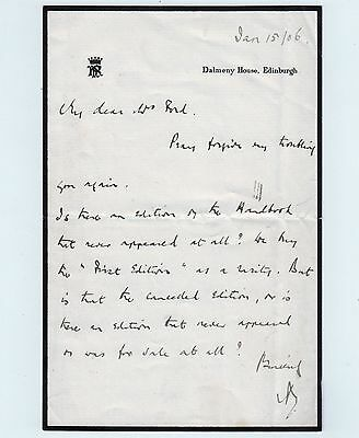 EARL OF ROSEBERY, Prime Minister, Autograph Letter, initials, 1906