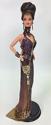 Ooak Barbie Anthony Ferrara Metal Mesh Gown With Gold Evening Bag