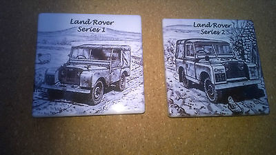 2 Landrover Fridge Magnets Mark 1 & 2 By Norfolk China,new Rrp £2.50