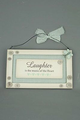 Laughter is the Music of the Heart Wall Plaque Sign Cream Duck Egg Blue Butterfl