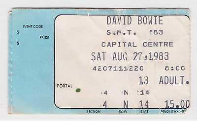 David Bowie - 8-27-83 - Capital Centre - MD ticket stub - 1983 Serious Moonlight
